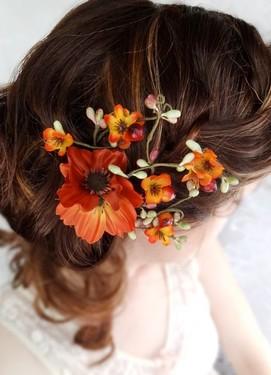 свадебное украшение для волос в оранжевом цвете
