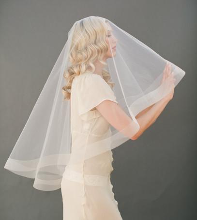 фата веер, фата средней длины, невеста, свадебный образ