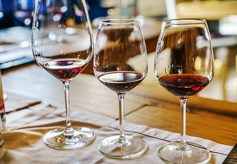 бокалы с вином, дегустация вин, идея для девичника, красное вино