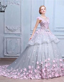 свадебное платье розово-голубых цветах