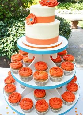 кенди бар на свадьбе в оранжевом цвете