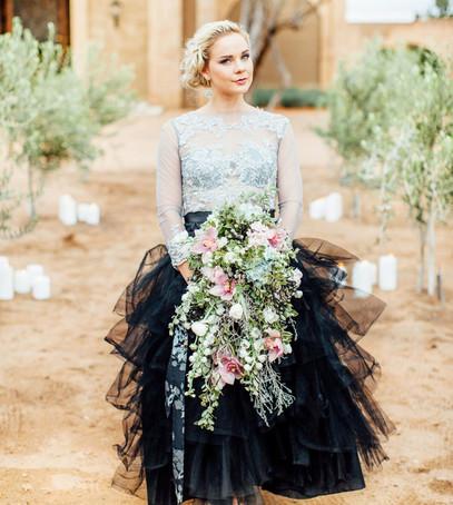 невеста, красивое свадебное платье, тренд 2018, саме модные свадебные платье, чёрно-белое платье на свадьбу