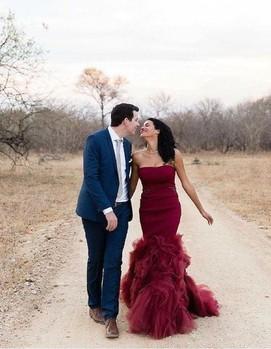 платье невесты в бордовом цвете