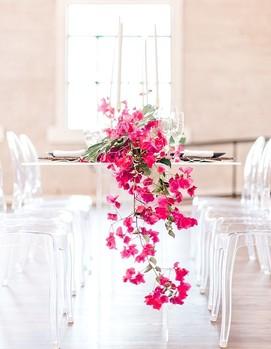 свадьба в цвете фуксия, декор банкета