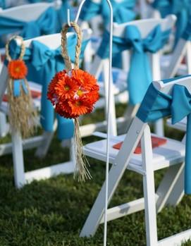 декор свадьба в бирюзовом и  оранжевом цвете