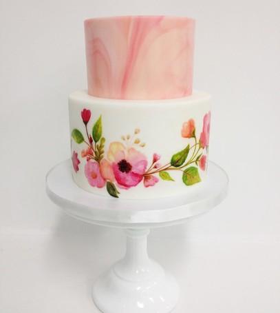 свадебный торт с акварелью,  рисунок на торте, белый торт