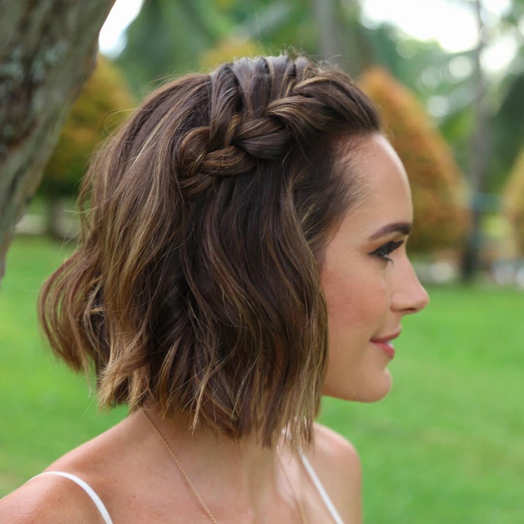 Прическа коса на короткие волосы фото