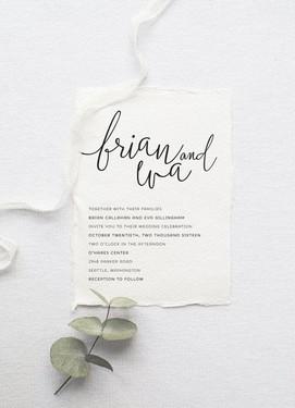 Монохромные пригласительные на свадьбу минимализм