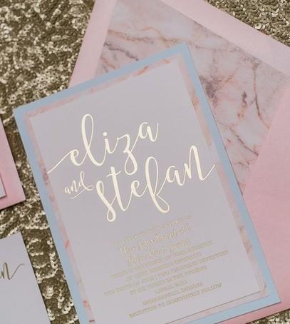 приглашения на свадьбу в розово-голубых цветах