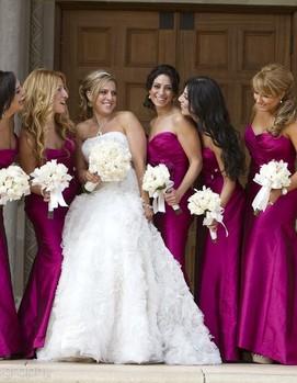свадьба в цвете фуксия, подружки невесты