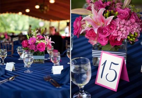 свадьба в цвете фуксия, сочетание синего цвета и фуксии в свадебном декоре
