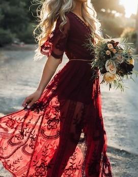 свадьба в бордовом цвете, платье бордовое