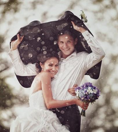 дождь,свадьба, фотосессия, жених и невеста, радость, улыбки