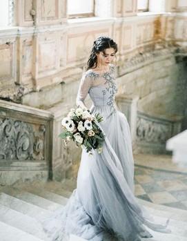 свадебное платье голубое