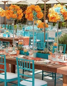 оформление свадьбы в оранжевом и бирюзовом цвете