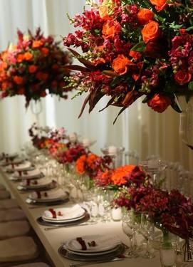 декор банкета в оранжевом цвете