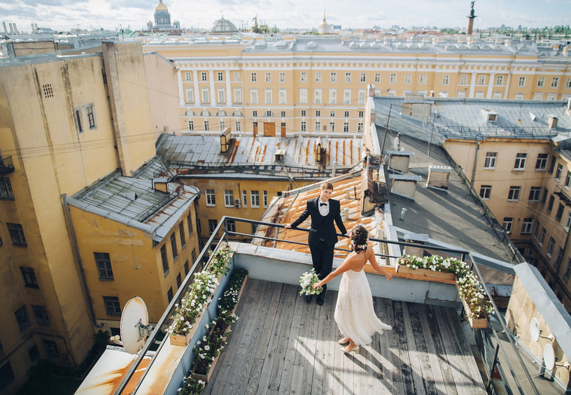 Свадебное фото на крыше