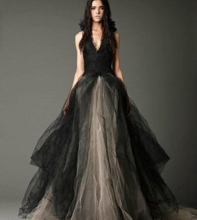 чёрное свадебное платье, платье веры вонг, платье для невесты, дизайнерское свадебное платье