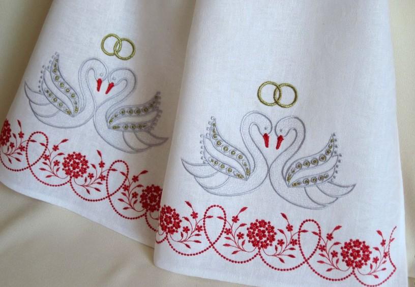 украинский рушник, вышитый рушник на свадьбу