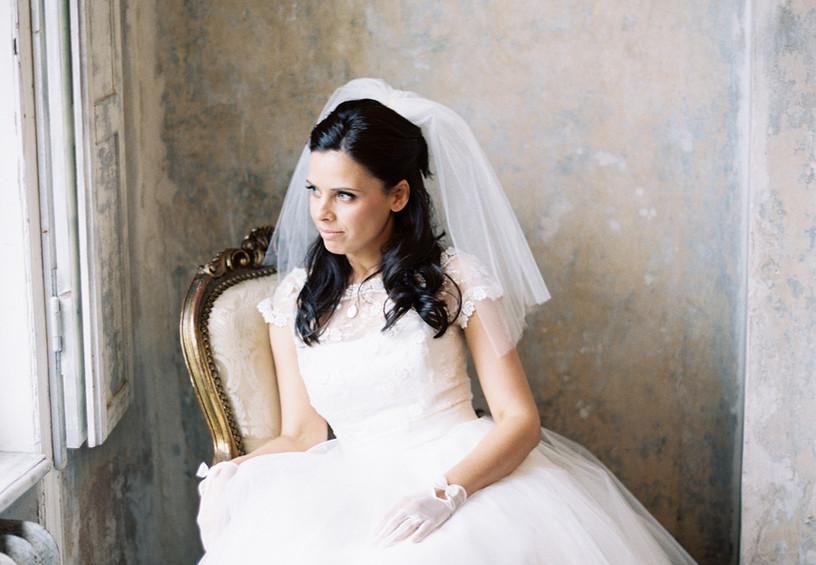 короткая фата, флай эвей, свадебная причёска с фатой, невеста