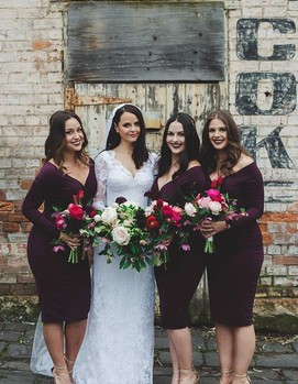 свадьба в бордовом цвете,подружки невесты