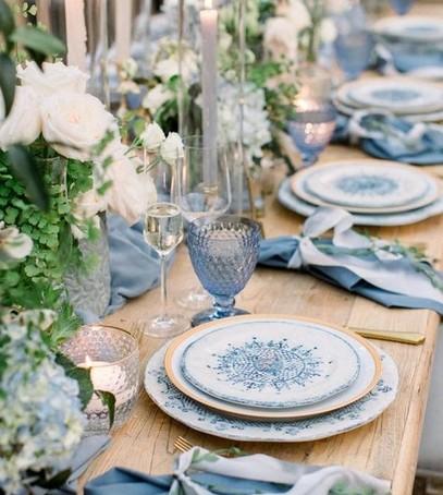 синее оформление свадьбы