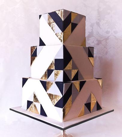 геометрический свадебный торт, торт деко, свадебный торт металлик