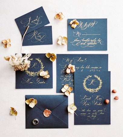 Пригласительные на свадьбу синий с золотым