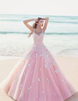 свадебное платье в розово-голубом цвете