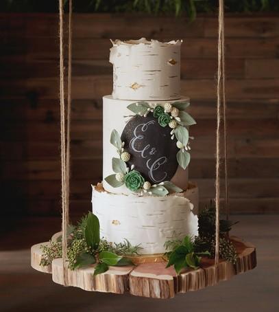 свадебный торт, рустик, белый, природные мотивы, многоярусный, мастика как кора дерева