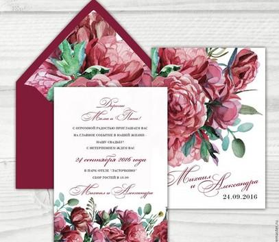 Пригласительные на свадьбу марсала пионы