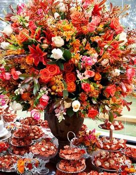 свадебный банкет в оранжевом цвете