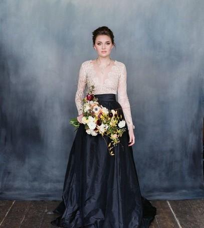 свадебная мода 2018, платье на свадьбу, невета с букетом, 2018, чёрное платье на свадьбу
