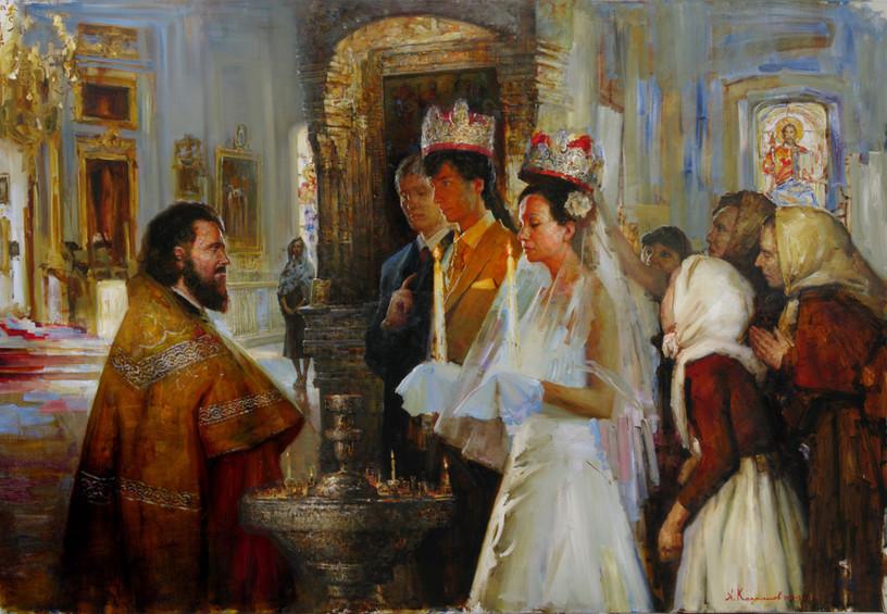 венчание, обряд венчания, церковь, жених и невеста, картина