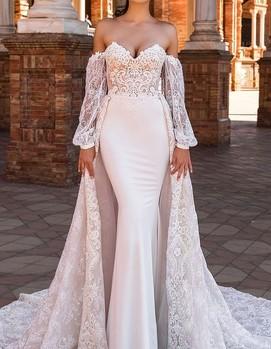 Свадебное платье с открытыми плечами фото