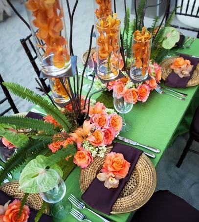 свадебный декор в оранжевом цвете