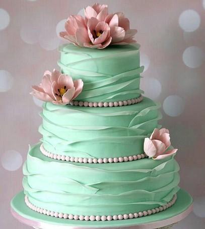 торт гофре свадебный, мятный торт, торт в несколько ярусов, гофре
