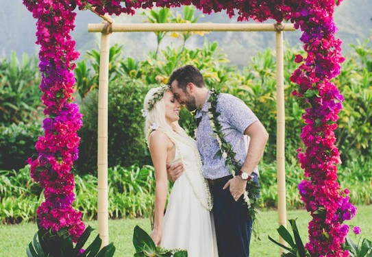 свадьба в цвете фуксия, молодожёны, выездная церемония