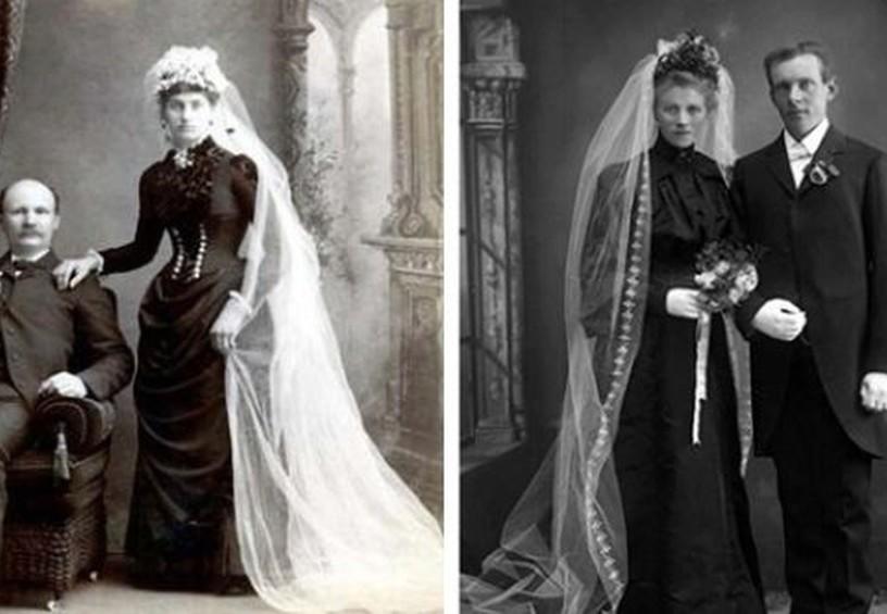 свадебные платья середины прошлого века, чёрные свадебные платья, старинные наряды на свадьбу