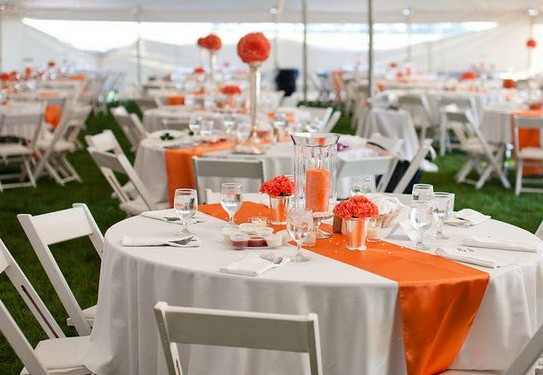 оформление свадьбы в оранжевом цвете