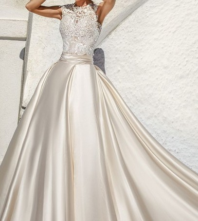 Атласное свадебное платье 2017