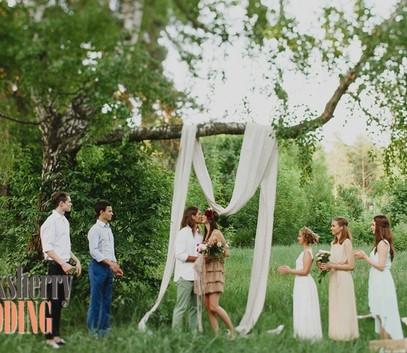 свадьба в лесу, свадьба на выезде, выездная церемония