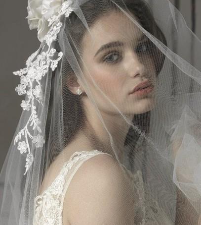 классическая фата, фата средней длины, невеста