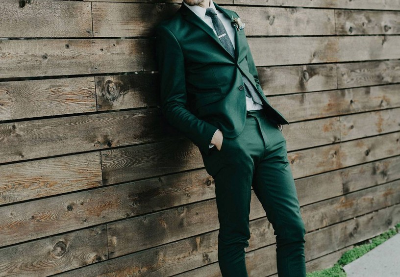 59f7c5db модный мужской костюм, зелёный мужской костюм