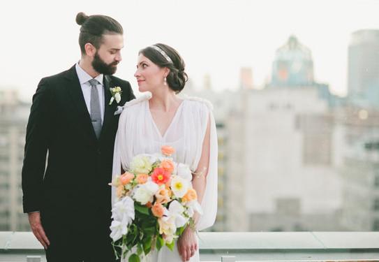 Красивые свадебные фотографии на крыше