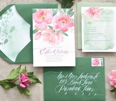 Пригласительные на свадьбу зелёный и розовый