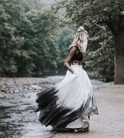 чёрно-белое платье на свадьбу, бохо невеста, необычное свадебное платье, смелая невеста