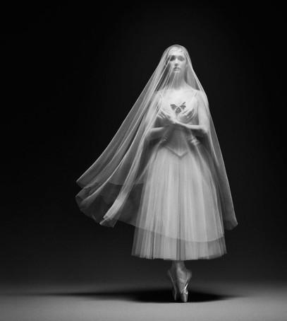 фата-балет, фата средней длины, фата до колена, чб фото, невеста-балерина