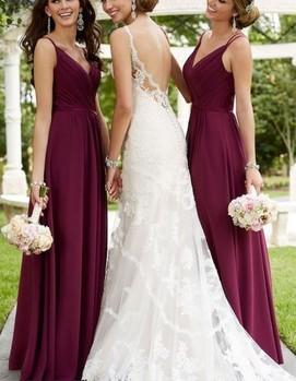 свадьба в бордовом цвете, подружки невесты
