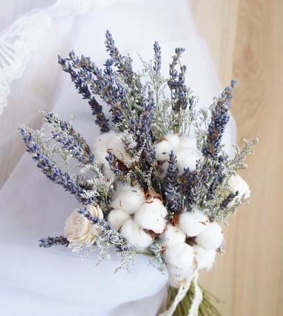 свадебный букет из хлопка, хлопок в букете невесты, невеста 2019, модный свадебный букет, свадьба 2019